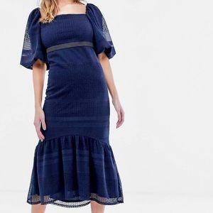 ASOS DESIGN Lace Puff Sleeve Peplum Hem Midi Dress